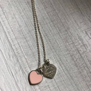 Tiffany mini double heart tag necklace